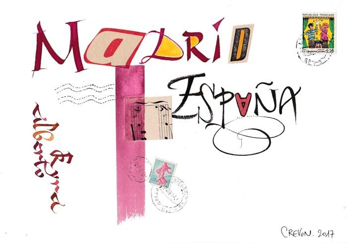 calligraphie et collage : Espagne